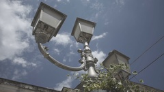 Old italian lamp vintage style in town Stock Footage