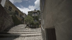 Stairs Italian city, Pietrelcina with nice old building Stock Footage
