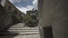 Stairs Italian city, Pietrelcina with nice old building Stock Footage