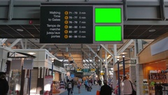 4K Airport Terminal Blank Overheard Sign Boards, Business Travel, Busy People Stock Footage
