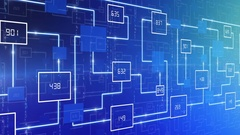 Abstract technology electronic circuit with number background LOOP blue Stock Footage