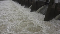 CALIFORNIA rain, boiling turbulent water at the spillway Stock Footage