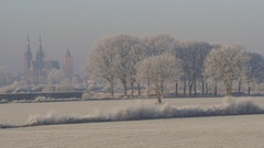 Frozen landscape with trees and church,Middelaar,Netherlands Stock Footage