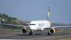Thomas Cook Airbus A 321 Closeup while Taxiing at Funchal Airport Stock Footage
