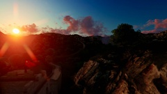 Aerial flight over Great wall of China at sunrise Stock Footage