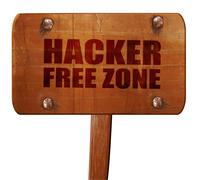 Hacker free zone, 3D rendering, text on wooden sign Stock Illustration