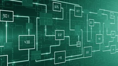 Abstract technology electronic circuit with number background LOOP green Stock Footage