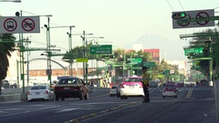 Mexico City traffic, downtown street view. Overpopulated city Stock Footage