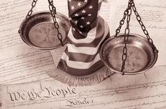 Scales of justice , American flag and US Constitution Kuvituskuvat