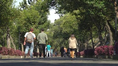 People walking in Chapultepec castle park walkway - Mexico City, Mexico Stock Footage