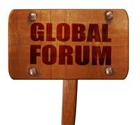 Global forum, 3D rendering, text on wooden sign Stock Illustration