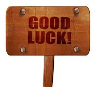 Good luck, 3D rendering, text on wooden sign Stock Illustration