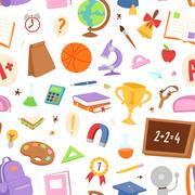 School icons seamless pattern background vector Piirros
