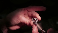 Jewelry work. Processing of silver ring. Close-Up. 4K UHD Stock Footage