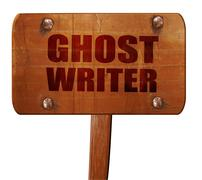 Ghost writer, 3D rendering, text on wooden sign Piirros