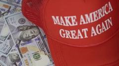 Donald Trump - rack focus to hat slogan Stock Footage