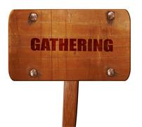 Gathering, 3D rendering, text on wooden sign Stock Illustration