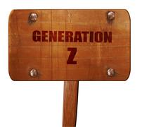 Generation z, 3D rendering, text on wooden sign Stock Illustration