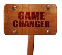 Game changer, 3D rendering, text on wooden sign Stock Illustration