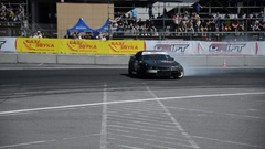 Drift car overcome turn track Stock Footage