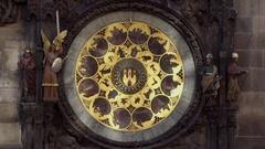 Orloj, Historical medieval astronomical clock, Old Town Hall, Prague, Czech Stock Footage