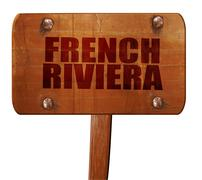 French riviera, 3D rendering, text on wooden sign Stock Illustration
