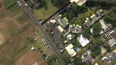 Flying over residential area Mauritius Island Stock Footage