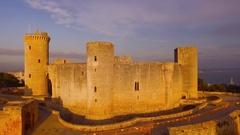 Bellver Castle fortress in Palma-de-Mallorca, Spain Stock Footage