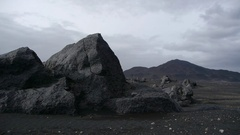 Fixed shot of rocks in moonlike landscape in central Iceland Stock Footage