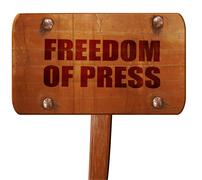 Freedom of press, 3D rendering, text on wooden sign Stock Illustration