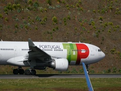 Airbus A330 of TAP Air Portugal Take Off from Madeira LPMA in 4K Stock Footage