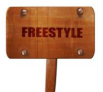Freestyle, 3D rendering, text on wooden sign Stock Illustration