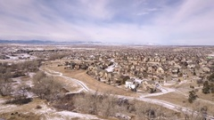 Aerial of residential neighborhood of Suburbia in the Winter. Stock Footage