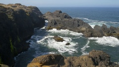 Indian Sands arch, Southern Oregon coast (pan) Stock Footage