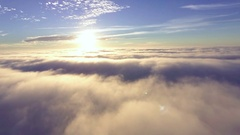 Flight over mist early at morning Stock Footage