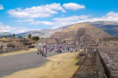 The Pyramid of the Moon  and the Avenue of the Dead at Teotihuac Stock Photos