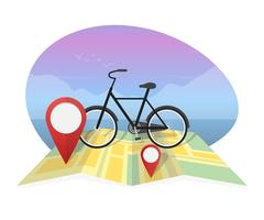 Vector illustration traveler with bicycle on map background Stock Illustration