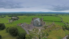 The green wide fields on the back of the Rock of Cashel in Ireland Stock Footage