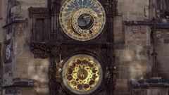 Orloj, Historical medieval astronomical clock, Old Town Hall, Prague, Czech Stock Footage