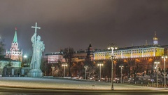Monument of Vladimir in Moscow at night Stock Footage