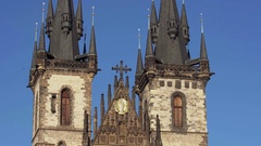 Church of Our Lady before Tn, Staromestska namesti square, Prague, Czech Stock Footage