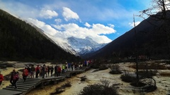 Huanglong Mountain With Beautiful Nature Calcification pool In Sichuan, China Stock Footage