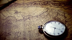 Old map and other stuff Stock Footage