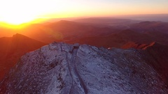 Sunrise drifting aerial shot of Mount Snowdon at dawn. Stock Footage