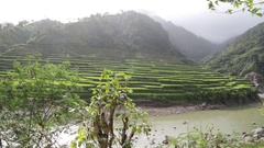 Terrace field for coultivation of rice Stock Footage