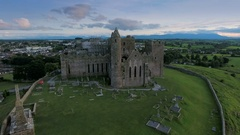 The old ruined Rock of Cashel in Ireland Stock Footage