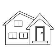 Housewarming facade exterior outline Stock Illustration