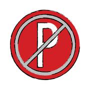 Drawing prohibited parking car sign traffic Stock Illustration
