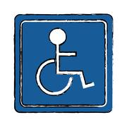 Drawing disabled person wheelchair sign road Piirros