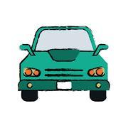 Drawing car sedan vehicle transport icon Stock Illustration